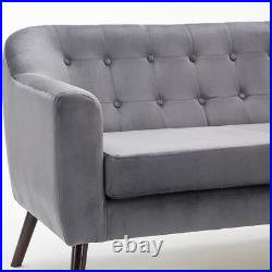 2 Seater Velvet Button Back Accent Sofa Chaise Longue Couch Wood Legs Furniture
