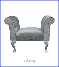 31.5 Small Chaise Longue Lounge Sofa Bench Seat Chair Pebble Fabric Queen Anne