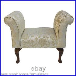 31.5 Small Chaise Lounge Sofa Bench Seat Chair Gold Fabric Queen Anne UK