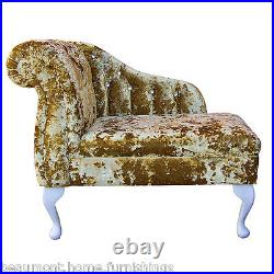 36 Small Chaise Longue Lounge Sofa Bench Seat Chair Gold Gilded Fabric Buttoned