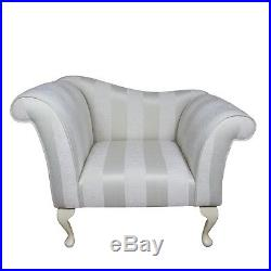 37 Small Chaise Longue Lounge Seat Arm Chair Armchair Oyster Stripe Fabric UK