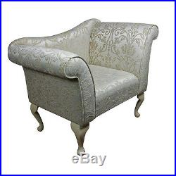 37 Small Chaise Longue Lounge Seat Armchair Arm Chair Gold Fabric Queen Anne