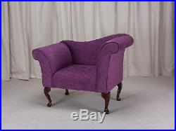 37 Small Chaise Longue Lounge Sofa Bench Seat Chair Purple Fabric Queen Anne UK