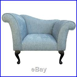 37 Small Designer Chaise Longue Lounge Seat Armchair Arm Chair Duck Egg Fabric