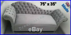 3 seater sofa Velvet Tufted Chesterfield Chaise Sofa Bedroom Accent Chair Bench