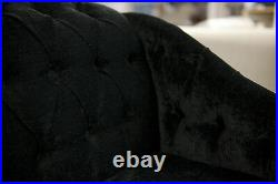 41 Buttoned Small Mini Chaise Longue Lounge in a Plush Black Velvet Fabric