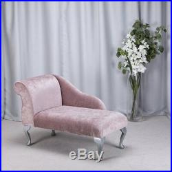 41 Small Chaise Longue Lounge Sofa Bench Seat Chair Blush Fabric Queen Anne UK