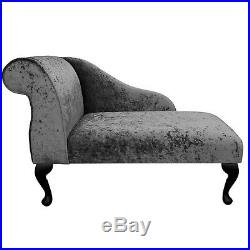 41 Small Chaise Longue Lounge Sofa Bench Seat Chair Pewter Fabric Queen Anne UK