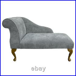 41 Small Chaise Longue Lounge Sofa Bench Seat Chair Silver Fabric
