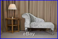 41 Small Chaise Longue Lounge Sofa Bench Seat Chair Silver Fabric Queen Anne