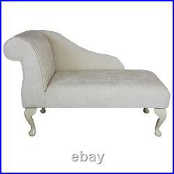 41 Small Chaise Longue Lounge Sofa Seat Chair Pearl Chenille Fabric