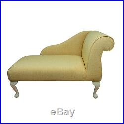41 Small Chaise Longue Right Facing Lounge Sofa Seat Chair Gold Fabric
