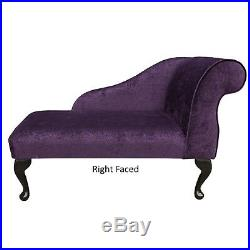 41 Small Chaise Longue Sofa Bench Seat Chair Purple Fabric Queen Anne UK
