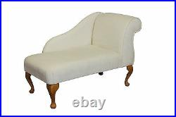 41 Small Chaise Longue Sofa Bench Seat Chair Woburn Oyster Fabric UK