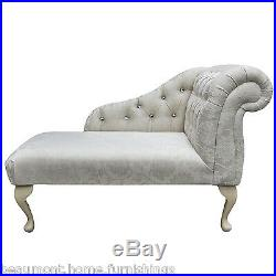41 Small Chaise Longue Sofa Chair Oyster Fabric and Diamante Buttoned UK