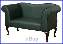 49 Small Double Ended Chaise Longue Lounge Sofa Bottle Green Faux Leather UK