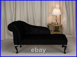 52 Chaise Longue Lounge Sofa Day Bed Seat Chair Plush Black Fabric UK