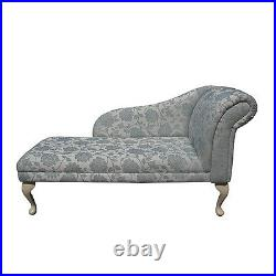 52 Large Chaise Longue Lounge Sofa Day Bed Seat Chair Floral Blue Fabric UK