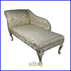 52 Large Chaise Longue Lounge Sofa Day Bed Seat Chair Gold Fabric Queen Anne UK