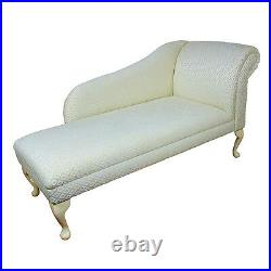 52 Large Chaise Longue Lounge Sofa Day Bed Seat Chair Gold Trellis Fabric UK