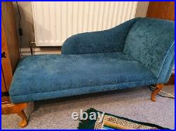 52 Large Chaise Longue Sofa Day Bed Seat Chair Teal Presto Fabric UK
