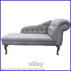 56 Large Buttoned Chaise Longue Lounge Sofa Seat Chair Silver Fabric Queen Anne