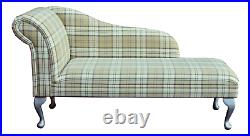 56 Large Chaise Longue Lounge Sofa Day Bed Green Tartan Fabric Queen Anne UK