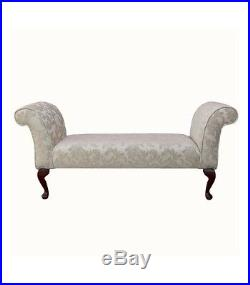 56 Large Chaise Longue Lounge Sofa Day Bed Seat Chair Cream Fabric Queen Anne