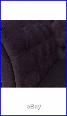 56 Large Chaise Longue Lounge Sofa Day Bed Seat Chair Purple Fabric Buttoned UK