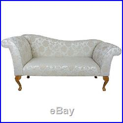 57 Large Chaise Longue Lounge Sofa Day Bed Seat Beige Fabric Queen Anne Legs UK