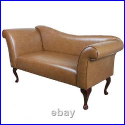 57 Large Chaise Longue Lounge Sofa Day Bed Seat Brown Leather Queen Anne Legs