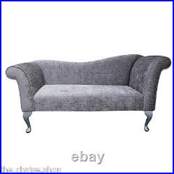 57 Large Chaise Longue Lounge Sofa Day Bed Seat Pebble Fabric Queen Anne Legs