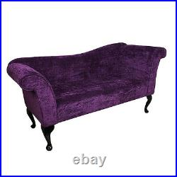 57 Large Chaise Longue Lounge Sofa Day Bed Seat Purple Fabric Queen Anne UK
