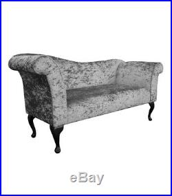 57 Large Chaise Longue Lounge Sofa Day Bed Seat Silver Fabric Queen Anne UK