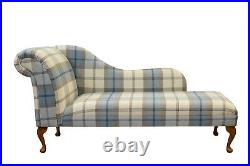 66 Large Chaise Longue Lounge Sofa Bed Seat Chair in Balmoal Sky Blue Fabric