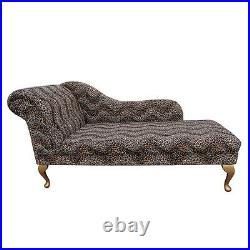 66 Large Chaise Longue Lounge Sofa Day Bed Seat Chair Leopard Fabric Queen Anne