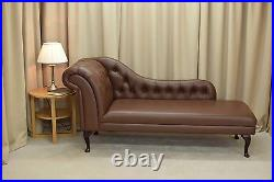 70 Large Buttoned Chaise Longue Lounge Sofa Day Bed Chair Seat Brown Leather UK