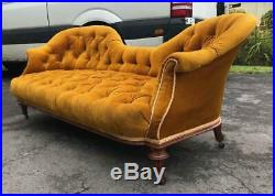 A Victorian Mustard Velvet Chesterfield 3 Seat Sofa Double Ended Chaise Longue