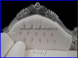 Amberley Ornate Chaise Silver Leaf White Faux Leather Medium Lounge Events Shop