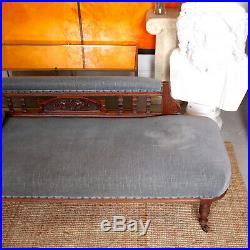 Antique Chaise Longue Victorian Sofa Carved 19th Century