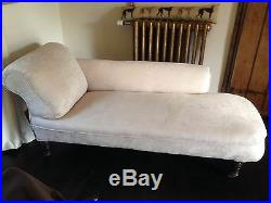 Antique Edwardian Upholstered Cream Chaise Longue Couch Settee Sofa