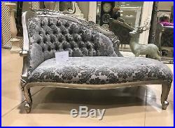 Antique Silver Grey Statement French Loveseat Sofa Chaise Longue Lounge Daybed