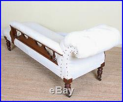 Antique Victorian Chaise Longue Sofa Carved Mahogany Fine Quality White