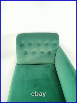 Antique Victorian Green Velvet Upholstered Chaise Longue Sofa Couch Settee