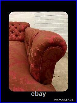 Antique Victorian Mahogany Chaise Longue Seat Sofa Reupholstered Brocade Red