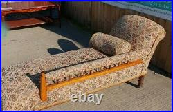 Antique Victorian Oak & Tapestry Material Chaise Longue Sofa