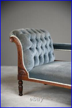 Antique Victorian Upholstered Button Back Chaise Longue Sofa Settee