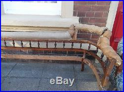 Antique Victorian WALNUT Spindle Double End CHAISE LONGUE Settee Sofa Day Bed
