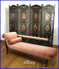 Antique Victorian carved chaise longue day bed sofa settee