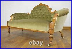 Antique inlaid Victorian buttoned double ended chaise longue day sofa settee